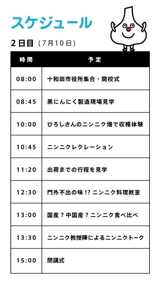 2日目スケジュール【ニンニク短期留学2011】